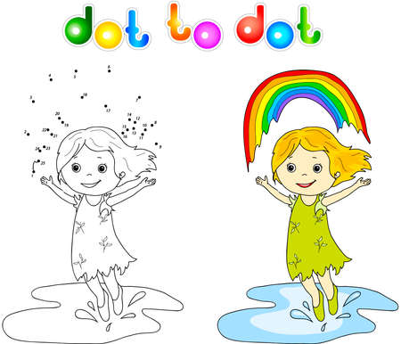 wet girl: Girl dancing with rainbow dot to dot. Coloring book for children Illustration