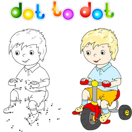 lad: Small cute boy riding a bicycle. Dot to dot game Illustration
