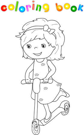 juvenile: Small cute girl riding a scooter. Coloring book for children