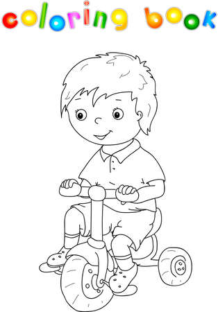 small cute boy riding a bicycle coloring book for children vector - Bicycle Coloring Book