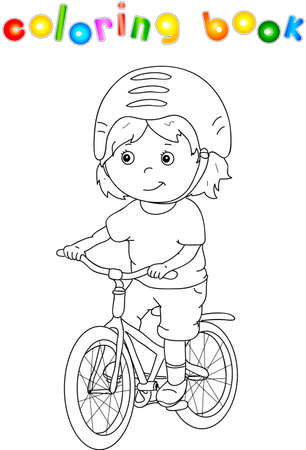 Young boy riding a bicycle in helmet. Coloring book for children