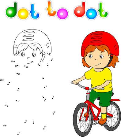 Jongen rijdt op een fiets in de helm. Punt om het spel te stippelen voor kinderen