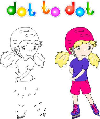 juvenile: Girl roller-skating in helmet. Dot to dot game for children