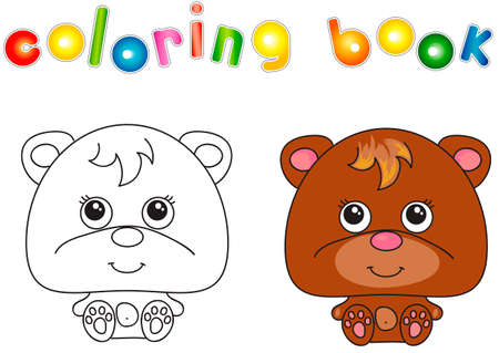 Funny and cute bear. Vector illustration for children. Coloring book 일러스트