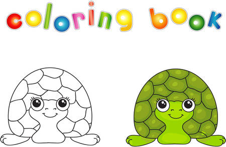 Funny green turtle. Vector illustration for children. Coloring book