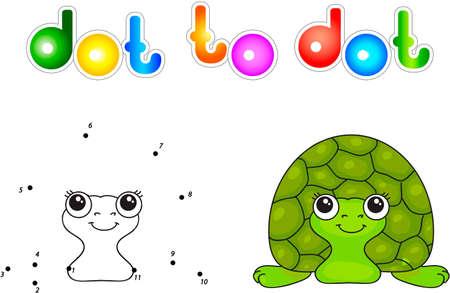 Funny green turtle. Vector illustration for children. Dot to dot game