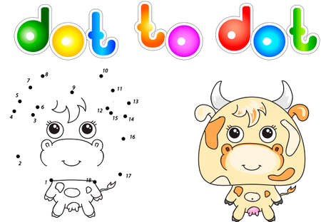 udder: Funny and cute cow. Vector illustration for children. Dot to dot game