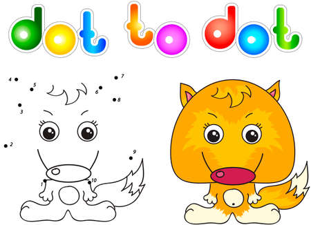 hungry kid: Funny and cute fox. Vector illustration for children. Dot to dot game Illustration