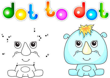 rhino vector: Funny and cute rhino. Vector illustration for children. Dot to dot game Illustration