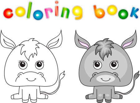 Funny and cute donkey. Vector illustration for children. Coloring book Ilustração