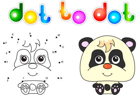 Funny and cute panda. Vector illustration for children. Dot to dot game