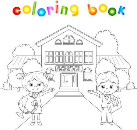 Boy and girl standing near the school building in a schoolyard. Vector illustration for children. Coloring book Vectores
