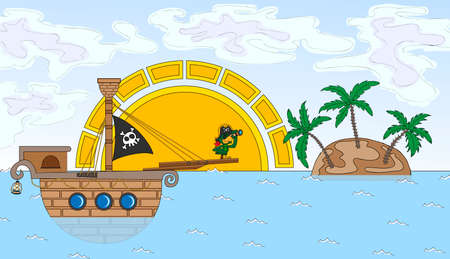 stern: Pirate ship with a parrot on the stern.