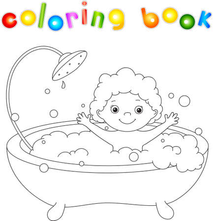 infant bathing: Сute toddler bathing in the bath with foam and laughing. Coloring book. Vector illustration Illustration