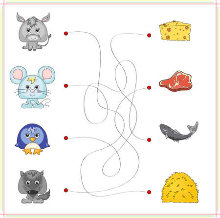 game meat: Donkey, mouse, penguin and wolf with their food (cheese, meat, fish and hay). Game for children: go through the maze and find the right answer Illustration