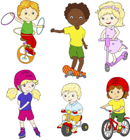 children sport: Children riding unicycle, bicycle and scooter, rollerblading and skateboarding. Vector illustration