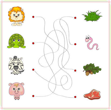game meat: lion, turtle, zebra and pig with their food (grass, worm, acorn and meat). Game for children: go through the maze and find the right answer