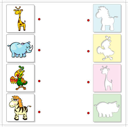 raptorial: Giraffe, rhino, parrot and zebra. Educational game for kids. Choose the correct silhouettes on the opposite side and connect the points