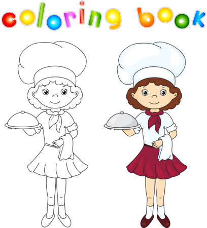 cook book: Cook or waiter in their uniform with closed dish. Coloring book. Game for children. Vector illustration