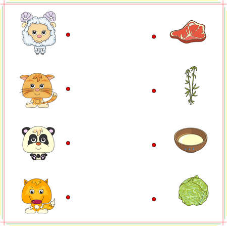 right choice: Lamb, kitten, panda and fox with their food (meat, milk, bamboo and cabbage). Game for children: make the right choice and connect the dots