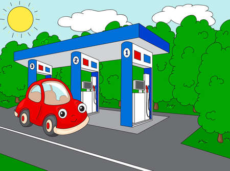 cross street with care: Funny cartoon car near the petrol station. Vector illustration Illustration