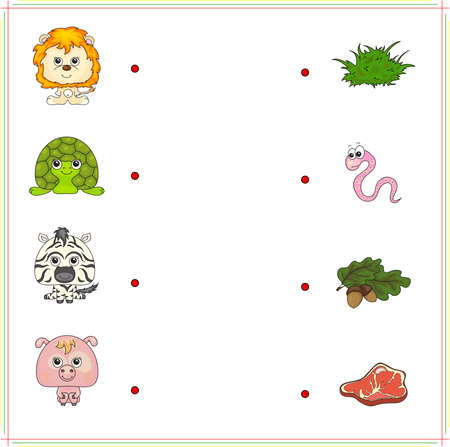 right choice: lion, turtle, zebra and pig with their food (grass, worm, acorn and meat). Game for children: make the right choice and connect the dots Illustration