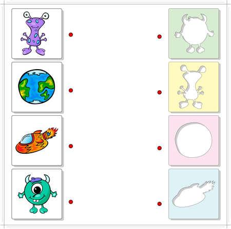disco volante: Mostro, alieni, la Terra e disco volante. Gioco educativo per i bambini. Scegliere le sagome corrette sul lato opposto e collegare i punti