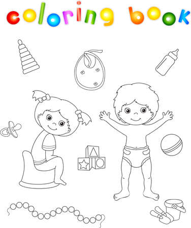 Girl sitting on the chamber pot and boy standing in diaper. Toys for children. Coloring book. Vector illustration