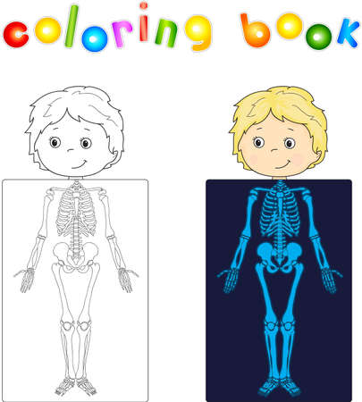 sceleton: Boy, patient whose body is shown in the X-ray. Vector illustration. coloring book Illustration