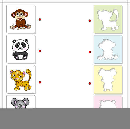 fascinated: Monkey, panda, tiger and koala bear. Educational game for kids. Choose the correct silhouettes on the opposite side and connect the points
