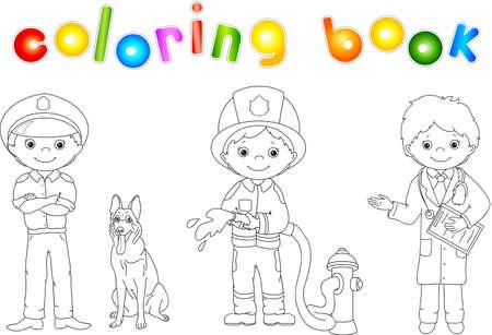 警官、消防士および彼らのユニフォームの医師。塗り絵。子供のためのゲーム。ベクトル図