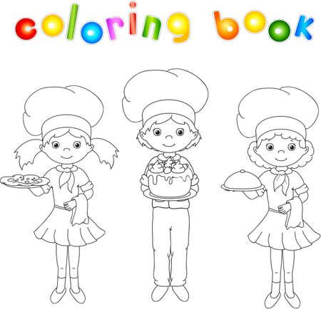 Cook, waiter, confectioner in their uniform. Coloring book. Vector illustration Vetores