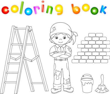 decorator: Painter in overalls and bandana. Ladder, paint brush and bucket of paint. Coloring book. Vector illustration