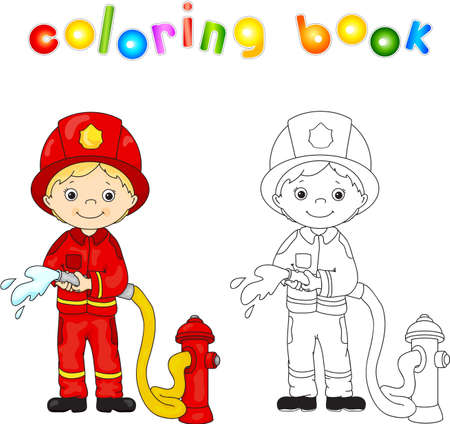 Brandweerman in een rood uniform en helm met een slang in zijn hand. Kleurboek. Vector illustratie