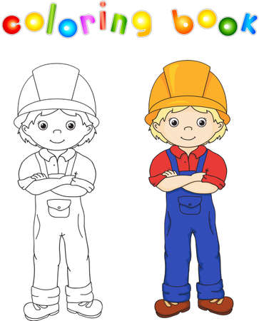 Worker in overalls and helmet. Coloring book. Game for children. Vector illustration