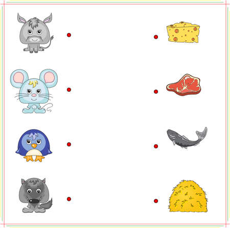 right choice: Donkey, mouse, penguin and wolf with their food (cheese, meat, fish and hay). Game for children: make the right choice and connect the dots