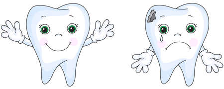 건강 한 치아 웃 고입니다. 아픈이 울고. 아픈 치아에는 충치 구멍이 있습니다. 벡터 만화 일러스트 레이션