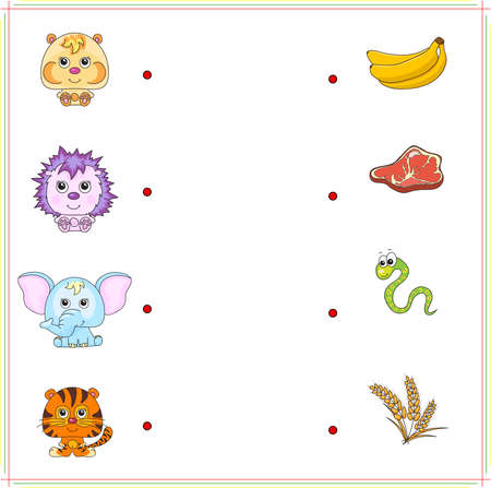 right choice: Hamster, hedgehog, elephant and tiger with their food (banana, meat, snake, worm, corn). Game for children: make the right choice and connect the dots