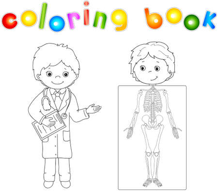 whose: Doctor and patient whose body is shown in the X-ray. Game - coloring book for children. Vector illustration