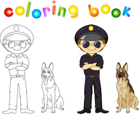 guard dog: Policeman in black uniform and cap with guard dog. Coloring book. Vector illustration