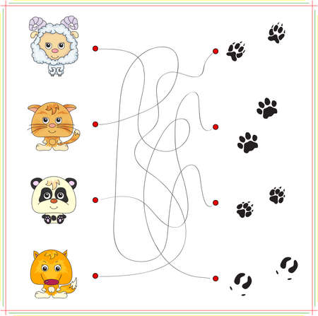 Lamb, kitten, panda and fox with their tracks. Game for children: go through the maze and find the right answer  イラスト・ベクター素材