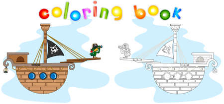 stern: Pirate with a parrot on the stern. Coloring book