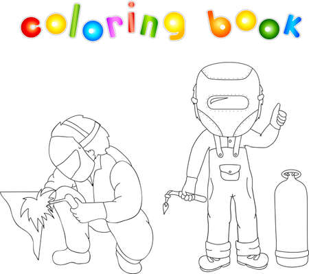 gas bottle: Welder in the mask and robe with a gas burner in his hand and gas bottle near him. Coloring book. Vector illustration