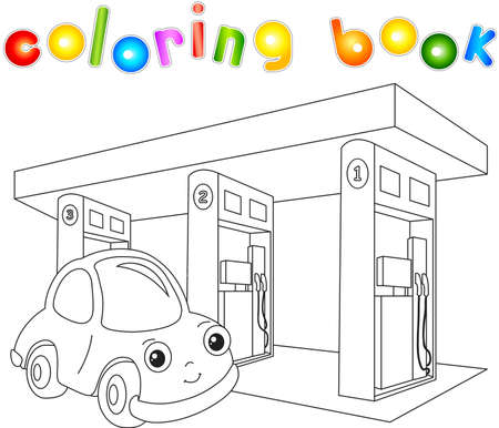 cross street with care: Funny cartoon car near the petrol station. Coloring book for children. Vector illustration