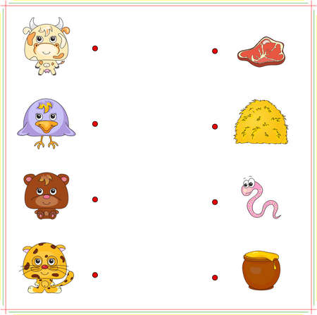 predatory: Cow, raven, bear and jaguar with their food (meat, hay, worm and pot of honey). Game for children: make the right choice and connect the dots