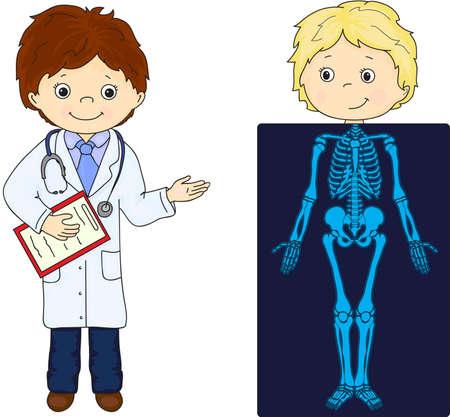 medico caricatura: Médico y el paciente cuyo cuerpo se muestra en la radiografía. Ilustración vectorial