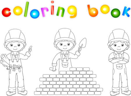 building inspector: Construction workers in their uniform. Coloring book. Vector illustration