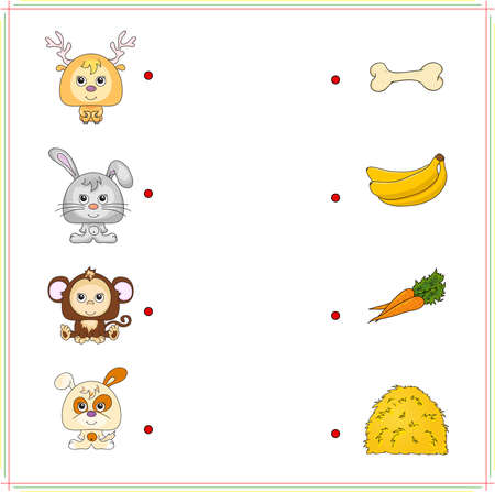 right choice: Deer, rabbit, monkey and dog with their food (bone, banana, carrot and hay). Game for children: make the right choice and connect the dots
