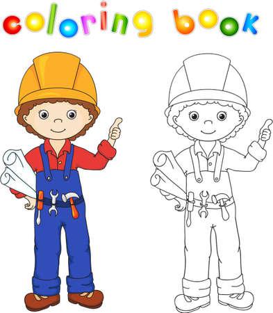 Trabajadores De La Construcción En Su Uniforme. Libro Para Colorear ...
