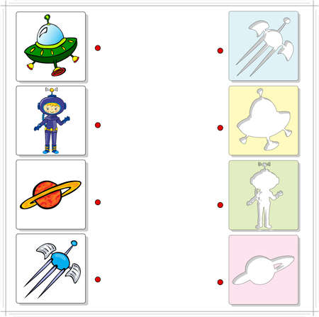 Astronaut, satellite, planet and spaceship. Educational game for kids on the theme of space exploration. Choose the correct silhouettes on the opposite side and connect the points